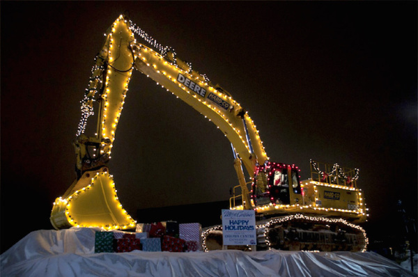 Hard-Co Excavator Decorated for Christmas